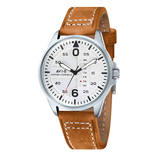 AVI-8 Hawker Harrier II White Dial Brown Leather Mens Watch 4003-0C