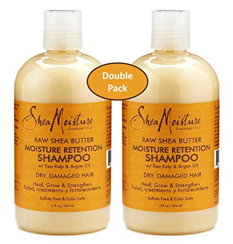 Shea Moisture raw Shea Butter Moisture Retention Shampoo w/ Sea Kelp & Argon Oil - Dry, Damaged Hair - Sulfate free & Color Safe - Value Double Pack - Qty of 2 Each