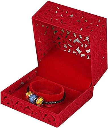 AG Caja de joyería de madera Boda Hueco Caja Colgante Collar ...