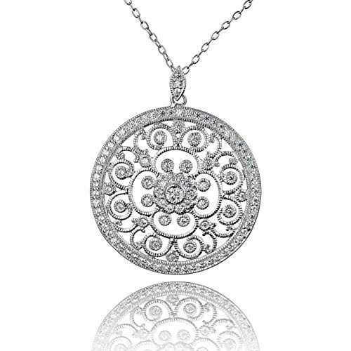 PZ PAZ Creations .925 Sterling Silver Cubic Zirconia Pendant Necklace (Sterling Silver)