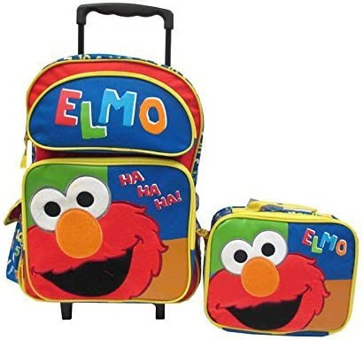 98141c0e5069 Amazon.com  Seasame Street Elmo Large Rolling Backpack with Lunch ...