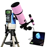 Pink 80mm Computer Controlled Refractor Telescope with Digital USB Camera