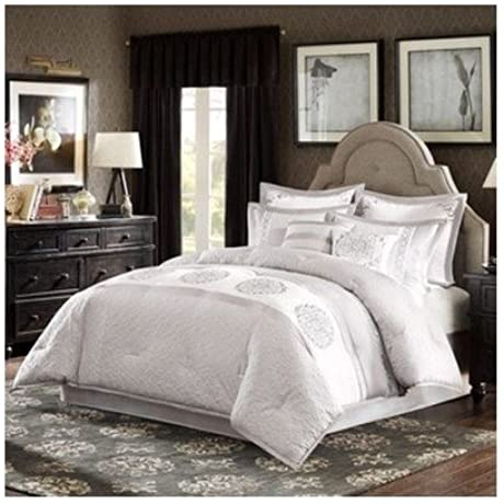 Modern Comforter Bedding Set White With Pillows Cal King Includes Scented Candle Tarts