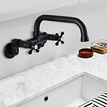 Fuz Wall Mounted Kitchen Sink Faucets 8 Inch Center Two Handles 360 Swivel Basin Plumbing Fixtures Hot Cold Kitchen Tap 3 To 9 Adjustable Spread Mixer Tap Matte Black Amazon Com