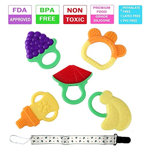 Baby Teething Toys – BPA Free Natural Organic Freezer Safe Soft Silicone Teether Set with Pacifier Clip for Toddlers & Infants, 5 Pack