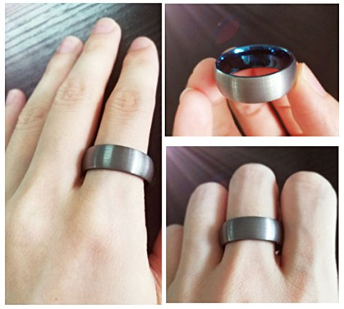 King Will 7mm Blue Domed Tungsten Carbide Wedding Band Ring Brushed Polish Finished Comfort Fit 9.5