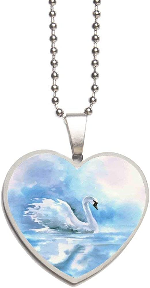 Watercolor Drawing Picture of Swan in The River Hazy Color Aqua Concept Picture Print Necklace Personalized Engraved Heart Custom Gift Pendant-Valentines Day Love