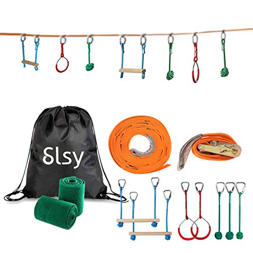 Cheapest Price! Slsy Ninja line Monkey Bar Kit 40 Foot, Kids Slackline Hanging Obstacle Course Set W...
