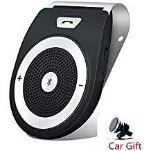 Handsfree Bluetooth Car Kit For iPhone Speakerphone Portable Car Audio Noise Cancelling Multipoint Wireless Clip On Sun Visor Includes Magnetic Phone Car Mount Holder