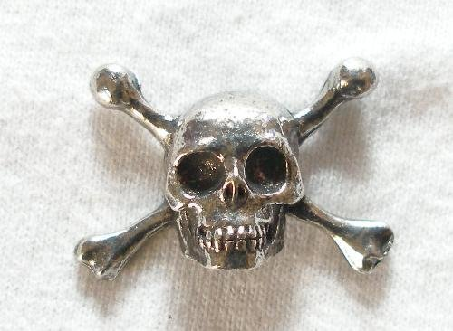 Solid Pewter Pirate Skull & Cross Bones Pin