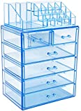 Sorbus Cosmetic Makeup and Jewelry Storage Case Display - Spacious Design - Great for Bathroom, Dresser, Vanity and Countertop (4 Large, 2 Small Drawers, Blue Brilliance)