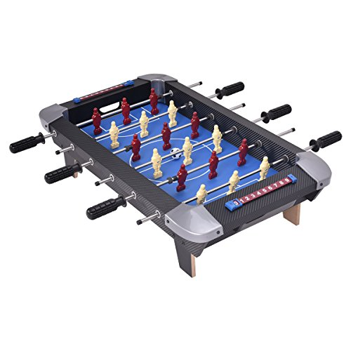 Giantex 28″ Foosball Table Set Soccer Competition Tabletop for Game Room Leisure Sports 18 Players Durable Steel Rods Easy Assembly Foosball Tables with 2 Footballs