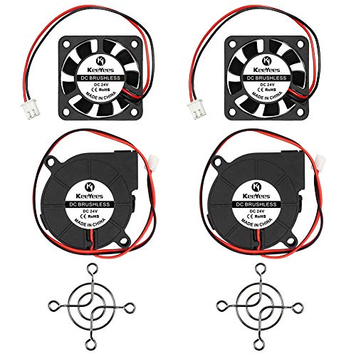 KeeYees 24V 3D Printer Brushless DC Cooling Fan 2 Pin Terminal 50mm x 50mm x 15mm 5015 and 40 x 40 x 10mm 4010 with Fan Protection Cover