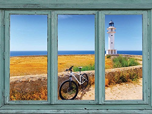 View of a lighthouse and seawall overlooking an calm ocean Wall Mural
