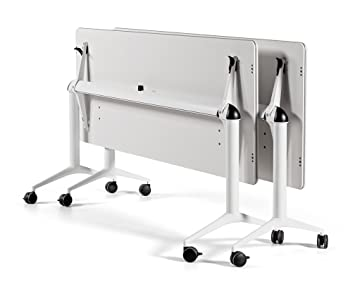 Mesa plegable con ruedas de 160x67x74h blanca trama30 profesional: Amazon.es: Hogar