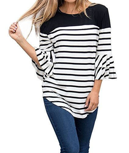 FISACE Womens 3/4 Ruffle Sleeve Striped Curved Hem Crewneck Tunic Tops Blouse Plus Size