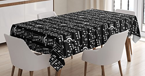 Ambesonne Music Decor Tablecloth, Musical Notes and Clef