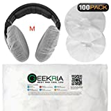 Stretchable Headphone Covers / Disposable Sanitary Earcup Earpad Covers Fits Medium / Large-Sized Headset 200 pcs (100 Pairs) White