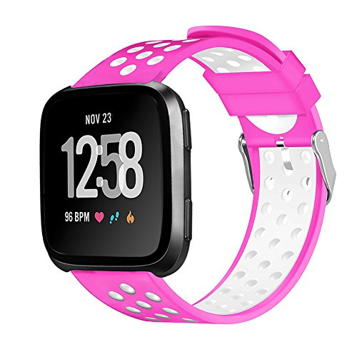 - Cywulin Breathable Bands for Fitbit Versa, Soft Silicone Sport Replacement Adjustable Wristband Strap Loop Accessories Waterproof Ventilation Holes for Versa Lite Special Edition Women Men (Hot Pink)