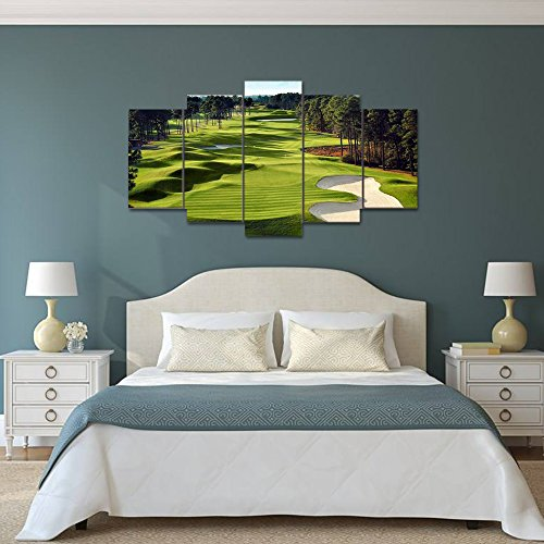 Canvas Paintings Printed 5 Pieces Golf Course Wall Art Canvas Pictures For Living Room 5 pcs print posters (Wood Golf Course)