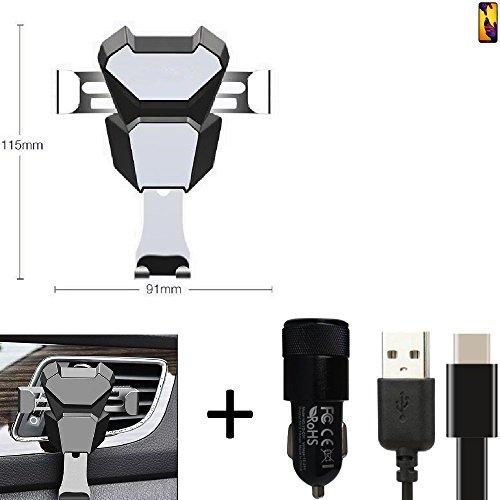 K-S-Trade for Huawei P20 Lite Dual-SIM bracket vent mount ventilation grille black-silver car motor vehicle Smartphone holder + car charger for Huawei P20 Lite ()