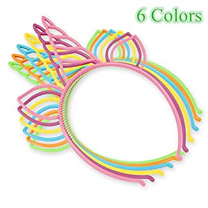 CXWILL Unicorn Headbands 30 Pcs Plastic Unicorn Hairbands for Girls Party Favors (6 Colors)