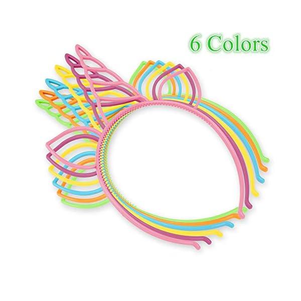 CXWILL Unicorn Headbands 30 Pcs Plastic Unicorn Hairbands for Girls Party Favors (6 Colors) 4