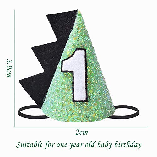 1st Green Dinosaur Birthday Party Hat First Boys Birthday Crown Cone Hat Adjustable Headbands for Party Theme Supplies