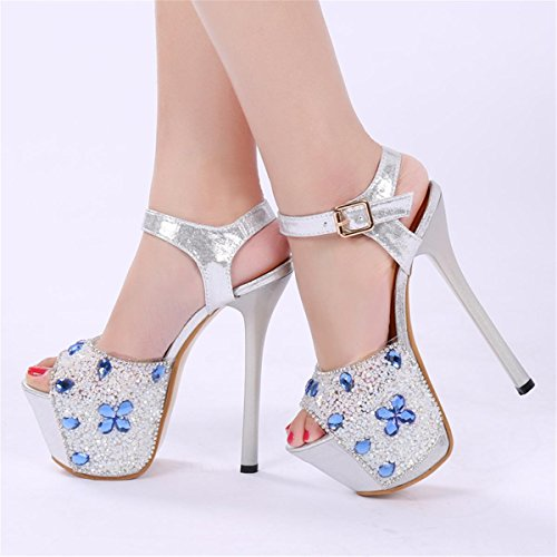 NVXIE Femmes Dames Nouveau Stiletto Chaussures Super Talon Chaussures Peep Toe Plateforme Satin Diamant Chiffon Fleur Spring Spring Club Party Nightclub BLUE-EUR35UK3 HW5VaYBN