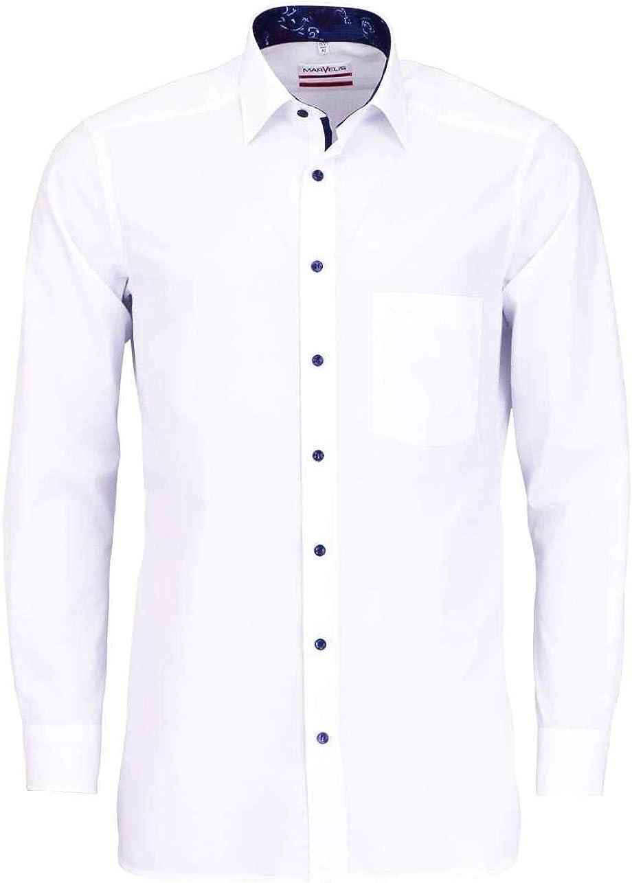 Marvelis - Camisa de manga larga con cuello de color blanco Blanco 42: Amazon.es: Ropa y accesorios