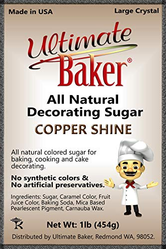 Ultimate Baker Copper Decorating Sugar - Kosher Certified Natural Large Crystal Decorating Sugar (1lb Bag Copper Color Sugar) by Ultimate Baker (Image #4)