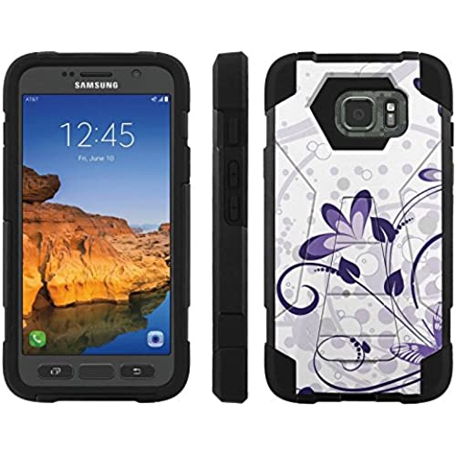 AT&T [Galaxy S7 Active] ShockProof Case [ArmorXtreme] [Black/Black] Hybrid Defender [Kickstand] - [Purple Butterfly Flower] for Samsung Galaxy [S7 Sales
