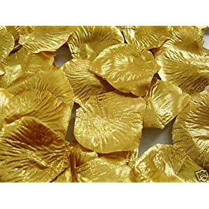 100 QUALITY GOLD METALLIC SILK ROSE PETALS CONFETTI/WEDDING 18