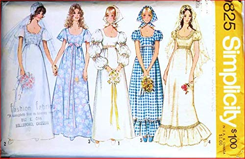 Vintage 1970s Simplicity 9825 Wedding, Bridesmaid Dress Sewing Pattern