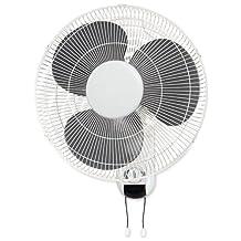 Lorell Wall Mount Fan -16-Inch Diameter -3 Speed -Adjustable Tilt Head, Oscillating -18.5-Inch Heightx9.3-Inch Width x 18.1-Inch Depth -White