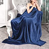 VANZAVANZU Extra Large Fleece Throw Blanket - 300GSM Flannel 60' x 80' All Season Super Soft Cozy Blanket for Couch Sofa Chair Twin Size Bed Adults - Navy Blue