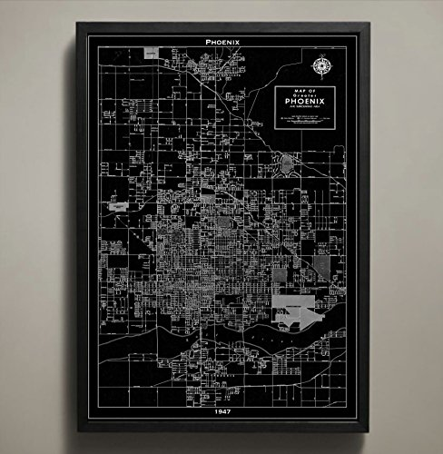 Phoenix Map Print, Home or office Decor ()