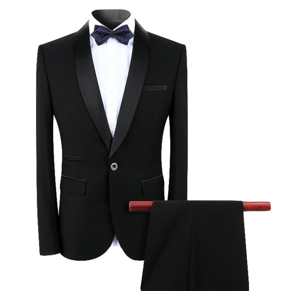 Mens Dinner Suits 2 Piece Slim Fit Black Wedding Tuxedo Suits for Men Button Shawl Lapel Blazer Jacket and Trousers