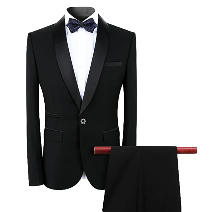 9593cf3dbf2 Mens Suits 2 3 Pieces Slim Fit Black Grey Wedding Dinner Tuxedo Suits One  Button Shawl Lapel Blazer Jacket Vest and Trousers  Amazon.co.uk  Clothing