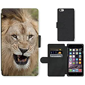 """Hot Style Cell Phone Card Slot PU Leather Wallet Case // M99999009 Lion // Apple iPhone 6 4.7"""""""