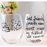 Best Friend Long Distance Friendship Gifts, State Wine Glass, All Countries and State Available, Painted Stemmed or Stemless Wine Glass
