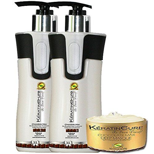 Nourishing Conditioner Lanza (Keratin Cure Chocolate 3 Piece Care for Hair Sulfate Free Shampoo, Conditioner & Deep Masque Soft Repair Moisturize Cocoa, Aloe, Argan, Jojoba Oils (300ml/10 fl oz))