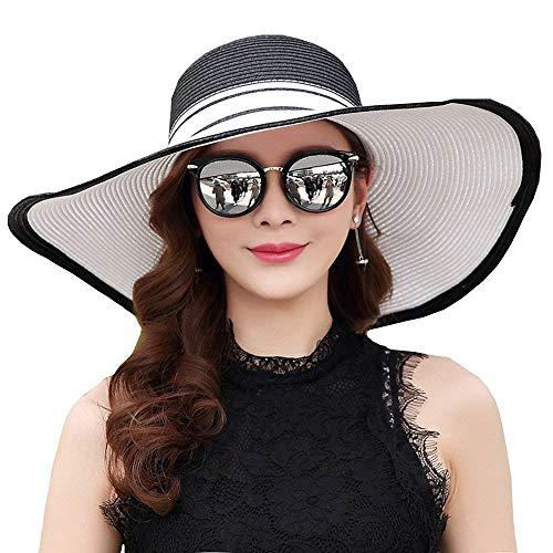 Las Sun 2 Anti Sombrero Yisaesa 1 Elegante Señoras ultravioleta Tamaño Para color Plegable Paja De gHqTz