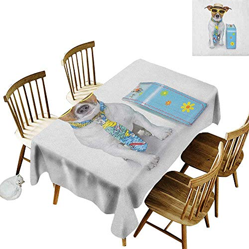 Oil-Resistant and Durable Long Tablecloth Kitchen Available Traveler Funny Dog Dressed as a Tourist with Hat Glasses Necktie and a Floral Suitcase W60 x L126 Inch Multicolor