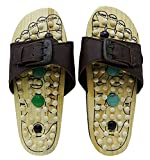 Thanks Giving Gift for your Loved Ones, Wooden Footwear Massager, with Leather Strip Massager, Wooden Relaxing Acupressure Slippers / Chappals For Good Health, Gift for Christmas or Birthday W-40214