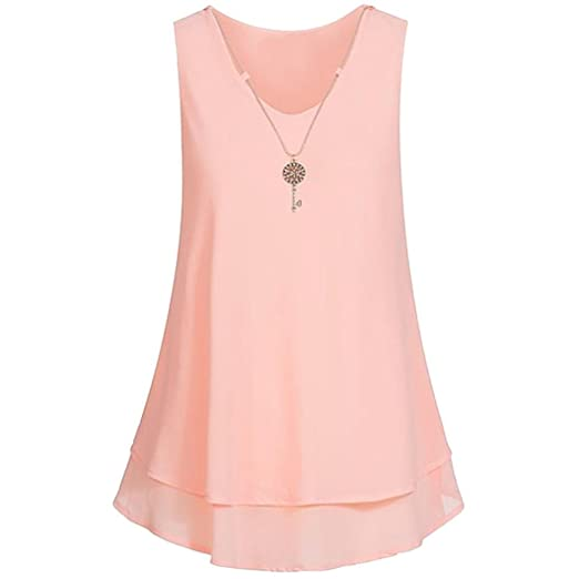 989a2b75e8a0f7 iTLOTL Women s Fashion Sleeveless V-neck Chiffon Necklace Casual Tank Top  Vest at Amazon Women s Clothing store