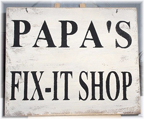 Papa's Fix-It Shop White Workshop Wood Sign A Father's Day Gift