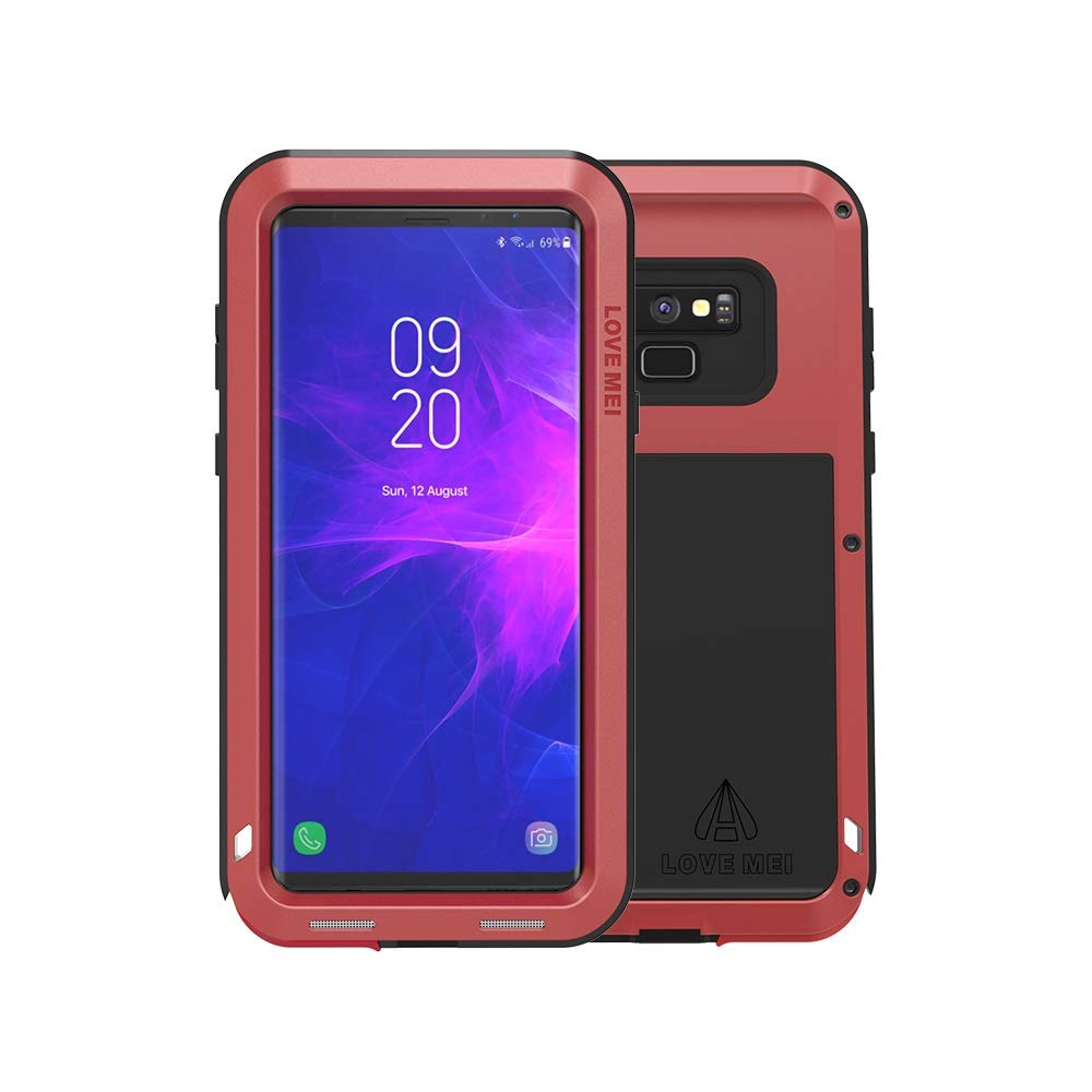 Galaxy Note 9 Case,Bpowe Super Shockproof Silicone Aluminum Metal Armor Tank Heavy Duty Sturdy Protector Cover Hard Case with Gift HD Clear Screen Protector for Samsung Galaxy Note 9 (Red)