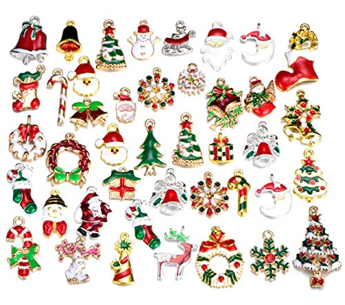 30pcs Mix Style Christmas Santa Claus Tree Deer Snowflakes Wreath Bell Socks Snowman Gift Enamel Cute for Necklace Bracelet Jewelry Making