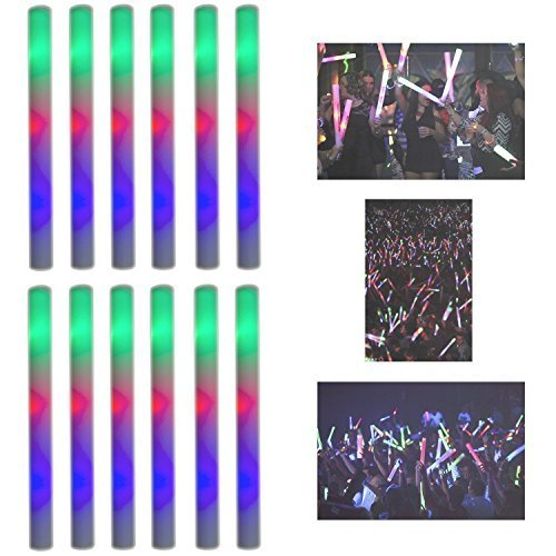Super Z Outlet Upgraded Light up Foam Sticks, 3 Modes Colorful Flashing LED Strobe Stick for Party, Concert and Event